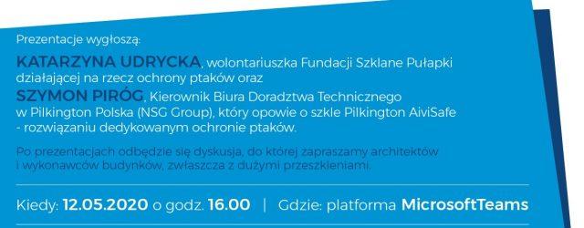 """Fundacja Szklane Pułapki i PM Project Academy Group zapraszają na webinar: """"Kolizje ptaków ze szkłem""""."""